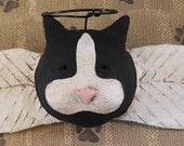 Primitive Cat Angel, OOAK, hand-sculpted paper mache, Black and White Cat Angel, Cat Wall Art