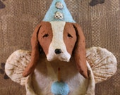 Basset Hound Birthday Angel, OOAK, handmade from papier mache, Basset Hound Birthday