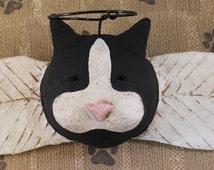 Primitive Cat Angel, OOAK, hand-sculpted paper mache, Black and White Cat Angel, Cat Wall Art