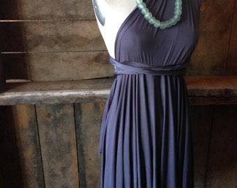 Glacier Dark Grey Satin-Satin Jersey Octopus Short Convertible Wrap Dress