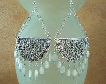 Gypsy Cowgirl Earrings Antiqued Tibetan Silver Filigree with Aqua Czech Crystal and Mother of Pearl Leaves