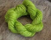 Handdyed and handspun tussah silk - Grasshopper - 10gr 60m