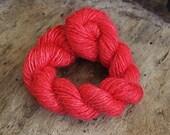 Handdyed and handspun tussah silk - Raspberry - 10gr 60m