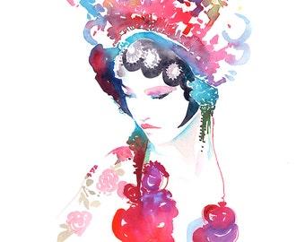 Canvas Prints Chinese Fashion Illustration, Watercolor Fashion Illustration, Chinese fashion, Chinese Costume, Chinese Wall Art