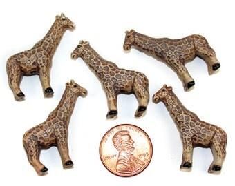 4 Large Giraffe Ceramic Beads - LG132