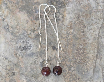 Dangly Garnet Earrings, Sterling Silver Threader Earrings, Burgundy Earrings, Natural Stone Earrings, Long Gemstone Earrings, Dangly Earring