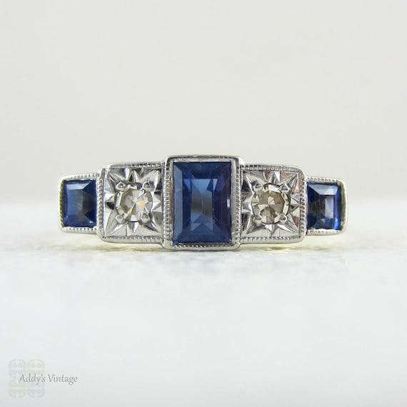 1930s Five Stone Engagement Ring. Alternating Rectangular