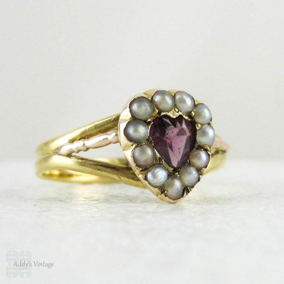 Georgian Garnet Heart Ring With Seed Pearls In 18 Carat
