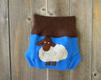 Upcycled Cashmere/ Wool Soaker Cover With Added Doubler Neutral Color Turquoise/ Brown With Baa Baa Sheep Applique NEWBORN 0-3M Kidsgogreen
