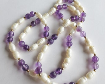 FRESHWATER PEARL and AMETHYST Necklace -