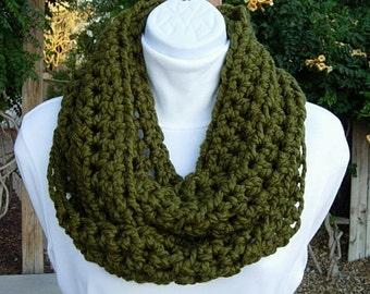 Cowl Scarf Infinity Loop, Dark Solid Olive Military Green, Handmade Thick Soft Wool Blend Crochet Knit Winter Endless Circle..Ready to Ship