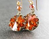 Crystal Amber Earrings Swarovski Sunset Orange Crystal Earrings Vintage Style Antique Gold Burnt Orange Red Amber Dangle Earrings