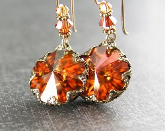 Crystal Amber Earrings Swarovski Sunset Orange Crystal Earrings Vintage Style Antique Gold Burnt Orange Red Amber Dangle Earrings