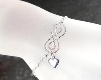 Adjustable Sterling Silver Infinity Bracelet Heart Charm Love You Forever Bracelet Dainty Eternity Bracelet
