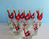 Vintage Rooster Drinking Glasses - Tall Tom Collins Glassware - Rocks Glasses - Mid Century Barware