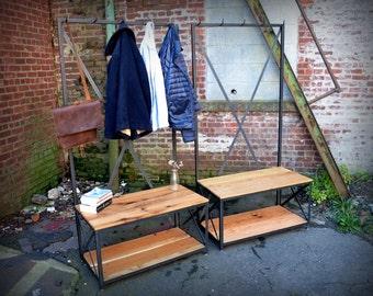 Oak Entry Bench and Coat Rack