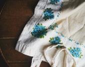 Vintage Floral Hankie Tote Bag, Blue Flower Market Bag, Beach Tote, Book Bag, Upcycled Cotton Shopper