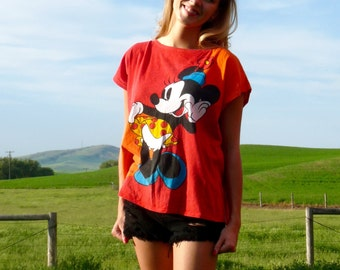 90s Faded Disney Minnie Mouse Graphic Muscle T-Shirt xs s