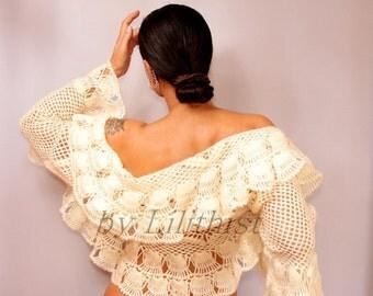 Ivory Bridal Shrug, Crochet Lace Bolero, Wedding Bolero Jacket, Crochet Shrug, Bridal Bolero, Lace Shrug, 3/4 Bell Sleeve Bridal Cover Up