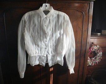 1950s Sheer Wide Pleat Blouse - Faceted Glass Jewel Buttons - Small