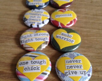 """1"""" Endometriosis Awareness and Support Magnets"""