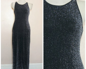 90s Silver Sparkle Maxi Dress Medium Column Dress Fancy Party Sleeveless Metallic Long Dress