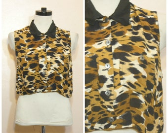 90s Leopard Print Crop Top Tank Top Safari Medium Large Collared Button Down