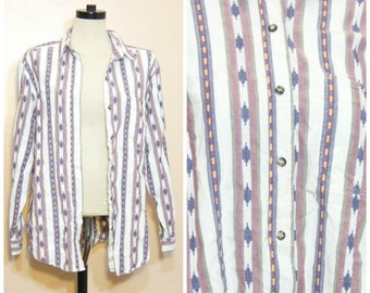 Southwestern Print Button Down Blouse Oxford Shirt Medium Large 80s 90s Twin Peaks