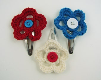 Adorable Crochet Flower Hair Clips- Red, White and Blue