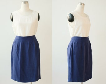 on SALE. Indigo Blue SILK Skirt Large 1990'S Minimalist Designer Skirt L Knee Length