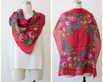 Floral pink Square Russian scarf, folk boho ethnic scarf shawl