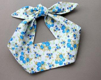 Dolly bow headband tie up floral headscarf  blue cotton bandana hair accessory