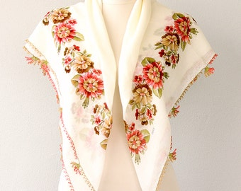 Cotton scarf Needle lace scarf Gauze shawl Turkish traditional head scarves Summer scarf Coral red white scarf Needlework square head scarf
