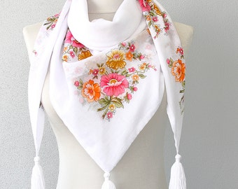 LIZZIE cotton scarf organic cotton gauze scarf white boho scarf tasseled scarf floral print scarf summer scarves women fashion scarves
