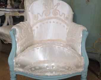 Beach Cottage ~ Vintage Slipper Chair ~ Boudoir White Satin Chenille ~ Aqua  Painted Frame ~
