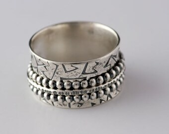 Spinner RIng in Sterling Silver Darkened and High Polished Crown Ring - Made to Order in your size