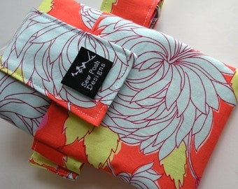 Chrysanthemum Amy Butler Tropical Orange Fabric Washable Iphone Galaxy Sport Sleeve Armband Cell Phone Case Pouch Zipper Pocket Waterproof L