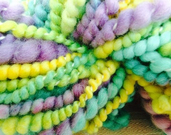 Hand spun Art yarn hand dyed handspun bulky knitting supplies crochet supplies Waldorf doll hair wool merino