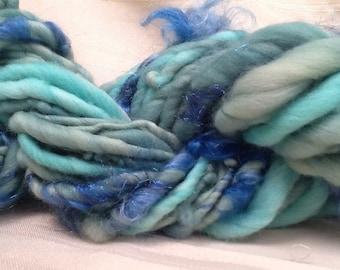 Handspun Art yarn hand spun hand dyed dyed bulky knitting supplies crochet supplies Waldorf doll hair wool merino wool