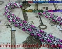 Double Byzantine BDSM Slave Collar Choker Necklace Silver Tone Base