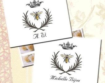 Napoleonic Bee Note Cards, Bee, Crown and Wreath, Custom Name or Initials, Symbol of French Empire, Personalized Cards, French Note Cards