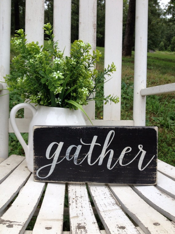GATHER mini 5.5 X 12 Wooden Sign Farmhouse Style Decor Wall Decor Kitchen Dining Room Family Gallery Wall