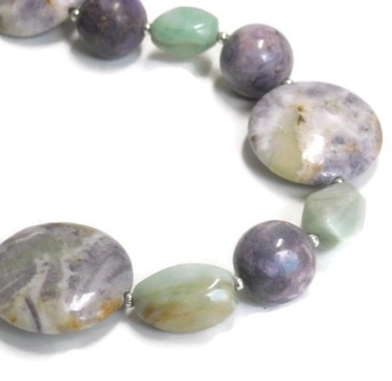 CIJ  Sugilite Collar Necklace, Mint Green Amazonite Necklace, Gemstone Necklace, Lavender, Spring, Summer, Purple, Boho, Pastel Necklace