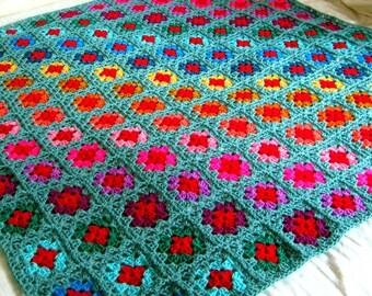 GRANNY SQUARES Sage BLANKET Afghan Rainbow Stripes