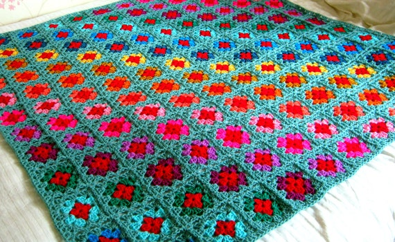 FLASH SALE 25% Off Sage Green Granny Squares Crochet BLANKET Afghan