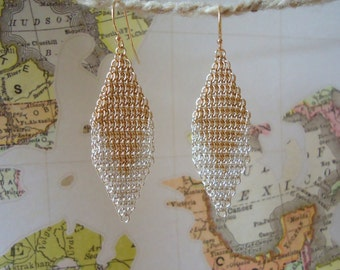 Gold and Sterling Silver Chevron Chainmail Earrings