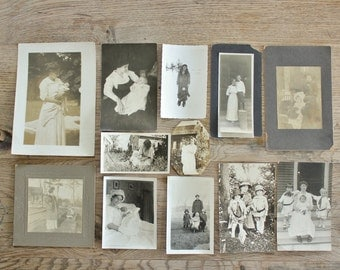 12 Antique Photos Mothers with Babies and Children