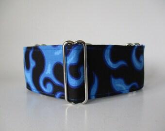 Greyhound Martingale Collar, Flames Martingale Collar, 2 Inch Martingale Collar, Flames Dog Collar, Blue Dog Collar, Custom Dog Collar