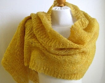 Yellow Wool Shawl / Handspun Wool Wrap / Hand Knit Shawl / Icelandic Handspun Wool / Organic Natural / Daffodil Sun Lemon Yellow