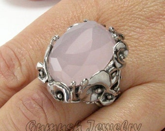Silver Rose Quartz Ring, Delicate Ring, 925 Sterling Silver Ring, Quartz Ring, Friendship Gifts, Statement Ring Size 6